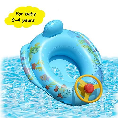 Branger Hals Schwimmring Baby Kopf mit Lenkrad Aufblasbarer Schwimmring Form des Autos für Kinder Jungen und Mädchen von 0 bis 4 Jahren Blau Pink PVC-Material ist sicher und harmlos (Blau)