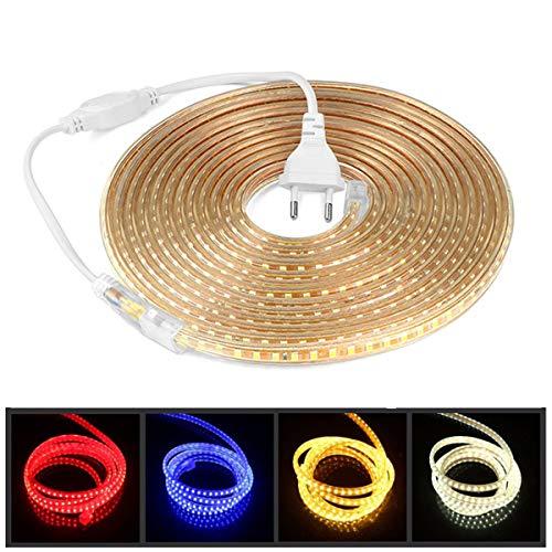 LED-Streifen, 220 V, AC 5050, IP68, wasserdicht, sehr hell, Tri-Chip, Stirnband, rot, 3 m