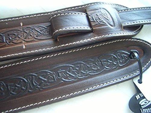 Celtic Irish Pattern Brown Leather Guitar Strap