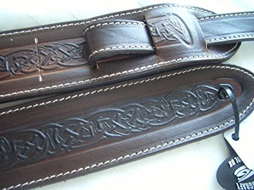 Celtic Irish Pattern Brown Leather Guitar Strap