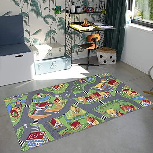 Carpet Studio Alfombra Carretera 140x200cm, Alfombra Infantil para Dormitorio & Cuarto de Jugar, Lavable a Máquina, Fácil de Limpiar, Anti-Deslizante - Little Village