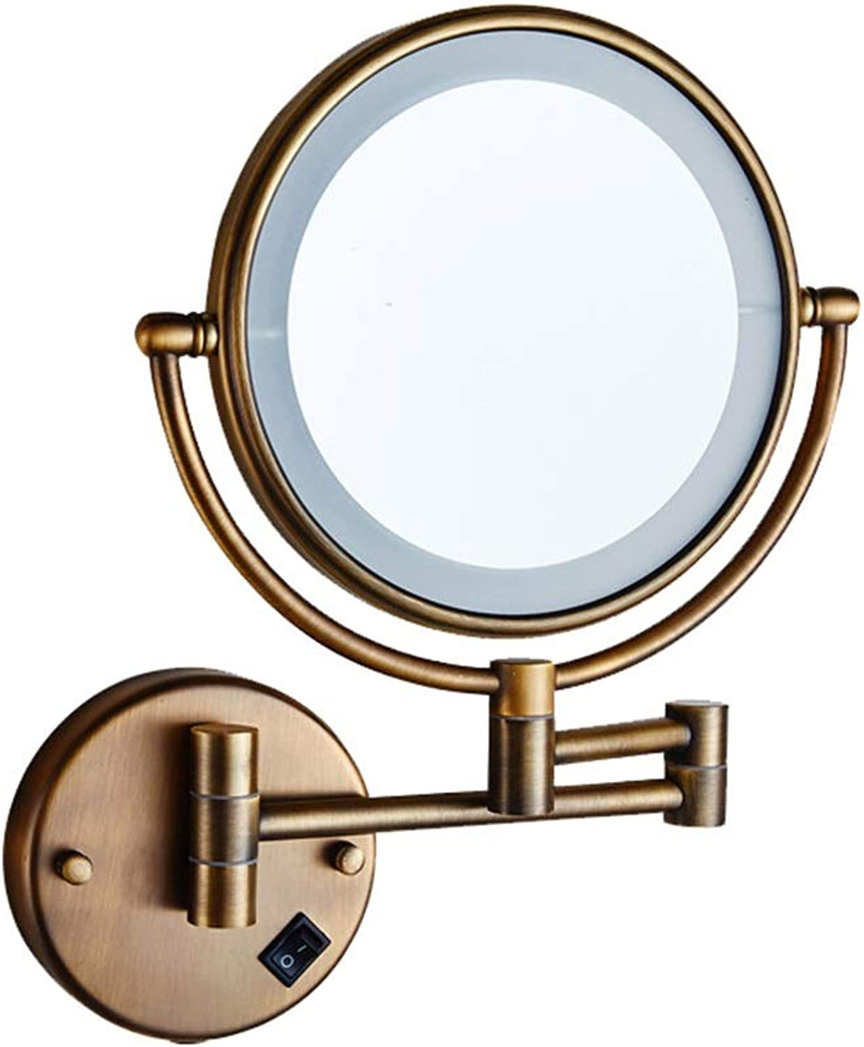GSHWJS LED Makeup Mirror Double-Sided Wall-Mounted Bathroom Mirror Shaving Mirror   8 Inch Adjustable Retractable Retro Copper Wall Mirror