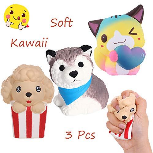 Anboor 3 Piezas Squishies Perro Gato Kawaii Perfumado Suave Lento Levantamiento Squishies de Animales Squeeze Stress Relief Kids Toy Prime Collection Gift