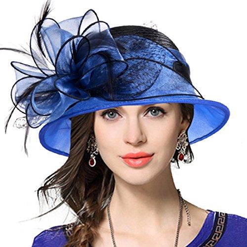 VECRY Lady Derby Dress Church Cloche Hat Bow Bucket Wedding Bowler Hats (Two-Tone-Blue)