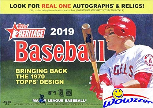2019 Topps Heritage MLB Baseball EXCLUSIVE Factory Sealed Retail Box with 8 Packs & 72 Cards! Look for Real One Autographs, Inserts, Parallels, Relics & More! New! This Product is On FIRE! WOWZZER!