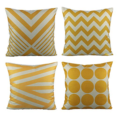All Smiles Decorative Outdoor Throw Pillow Covers Cushion Cases Home Decor Accent Pillowcases Square 18 x 18 Set of 4, Geometric Yellow & Lemon Color