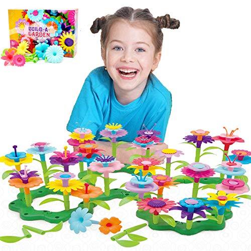 Kunmark Flower Building Toy Set Garden Building Blocks Playset for Girls Boys Educational Kids STEM Toys Creative  Stacking Game for Toddlers playset 98 PCS