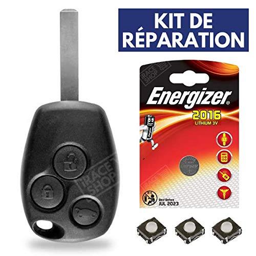 Télécommande Coque de clé plip Renault Modus Kangoo Trafic Master Twingo Clio 3 Laguna + Pile CR2016 Energizer - Kit iRace Keys®