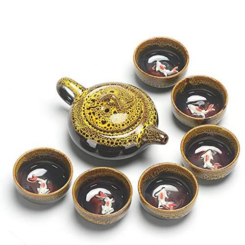 XUDREZ Set da tè in porcellana fatta a mano con incisione Celadon in ceramica cinese da viaggio Kungfu taglia unica Giallo