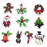 FENICAL 50pcs Botones de Madera de la Navidad 2 Botones de Costura de Agujeros para los Botones del Arte del Arte