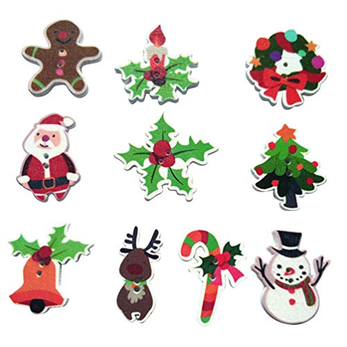 FENICAL 50pcs Wooden Christmas Buttons 2 Hole Buttons Sewing for Art Craft Buttons