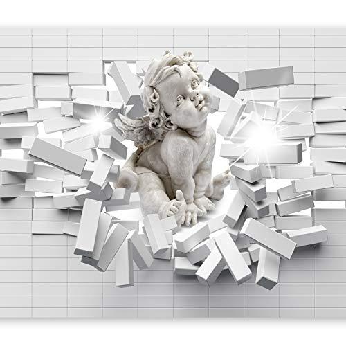 murando Fototapete 350x256 cm Vlies Tapeten Wandtapete XXL Moderne Wanddeko Design Wand Dekoration Wohnzimmer Schlafzimmer Büro Flur Engel Ziegel Textur h-C-0008-a-a
