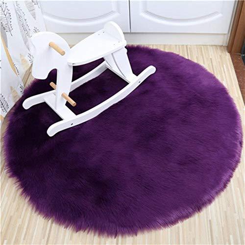 Miwaimao 1 Bedroom Imitation Wool Carpet Cushion Pad Warm Wool Artificial Fur Seat Cushion Sofa Office Carpet Area Rugs,Purple,40 × 40cm