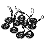 10PCS NTAG215 NFC Keyfob NFC Tags Compatible with TagMo and Amiibo, Work with All NFC Enable Android Phones Device and Gaming Console by Timeskey NFC,10PCS Black