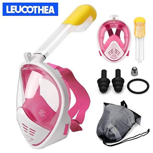 LEUCOTHEA Schnorchelmaske Tauchmaske Faltbare 180 °-Panoramaansicht Freie Atmung Vollgesichts-Schnorchelmaske mit Abnehmbarer Kamerahalterung, Trockenset Anti-Fog Anti-Leak für Erwachsene und Kinder