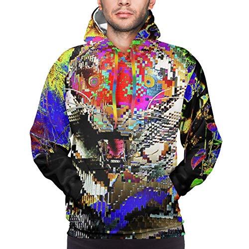 Sudadera divertida con capucha y capucha para hombre, diseño de tigre de Lego psicodélico