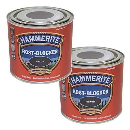 2 x 0,5L Hammerite Rostblocker Braun Anti-Rost Metallschutzlack gegen Rost Innen und Außen