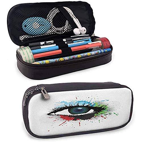 Étui à crayons en cuir pour les yeux Coup d'œil sur un œil humain de style grunge avec des éclaboussures colorées et un effet de demi-teintes