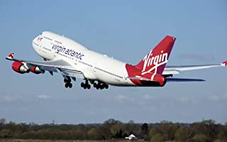 絵画風 壁紙ポスター (はがせるシール式) ヴァージン・アトランティック航空 VS ボーイング 747-400 ジャンボジェット 1991年運用開始 Virgin Atlantic Airways BOEING キャラクロ B747-009W1...
