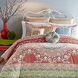 Jessica Simpson Amrita Medallion Comforter Set, Queen, Coral