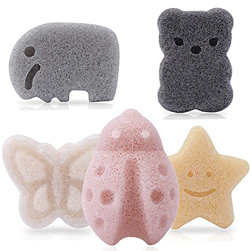 Konjac Baby Sponge for Bathing, Natural Kids Bath Sponges for Infants, Toddler Bath Time, Cute Shapes Natural and Safe Plant-Based Konjac Baby Bath Sponges Toys, 5pcs(Set 1)