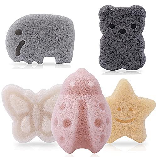 KECUCO Konjac Baby Sponge for Bathing, Natural Kids Bath Sponges for Infants, Toddler Bath Time, Cute Shapes Natural and Safe Plant-Based Konjac Baby Bath Toys, 5pcs