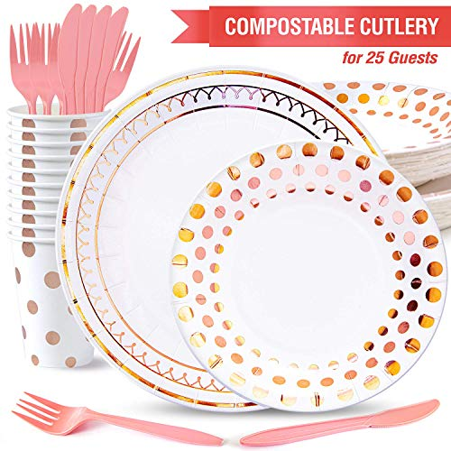 Kiki Green Rose Gold Paper Plates Set 125pcs Compostable Paper Plates Rose Gold Party Plates and Cups - baby Shower Rose Gold Party Decorations Sweet 16 Party Supplies Pink And Gold Party Supplies