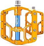 CXWXC Fahrradpedale 9/16 Zoll, rutschfeste Fahrrad Pedal Mountainbikes Plattform Pedale Aluminiumlegierung Fläche 3 Abgedichtete Läger für MTB BMX Rennrad (Gold)