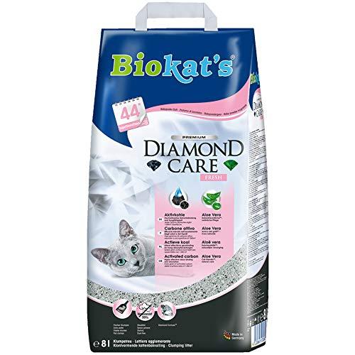 Biokat's Diamond Care Fresh, litière pour chats avec parfum - Litière agglomérante de qualité supérieure pour chats, au charbon actif et à l'Aloe vera - 1 sac en papier (1 x 8l)