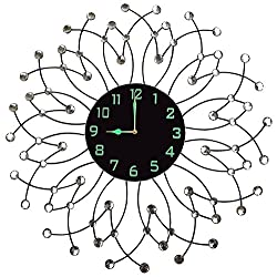 """Lulu Decor, Morning Bloom Metal Wall Clock 23.5"""", Black Glass Dial with Arabic Numbers 9"""", Decorative Night Dial Clock for Living Room, Bedroom, Office Space"""