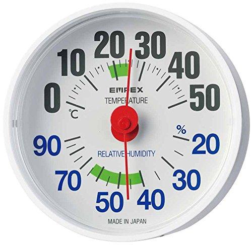 エンペックス気象計 温度湿度計 ルシード 置き掛け兼用 日本製 ホワイト TM-2651