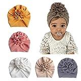 Geagodelia Turban Baby Mädchen Neugeboren Stirnband Haarband Knoten Mütze Sommer Stretch Schleife Headwear Kleinkind Neugeborene Mütze Hut (5er Turban Set, One Size)