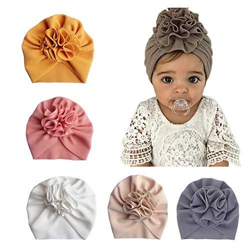 Geagodelia Turbante para bebé, niña recién nacida, cinta para el pelo, gorro de verano, elástico, lazo, nudo Juego de 5 turbantes. Talla única