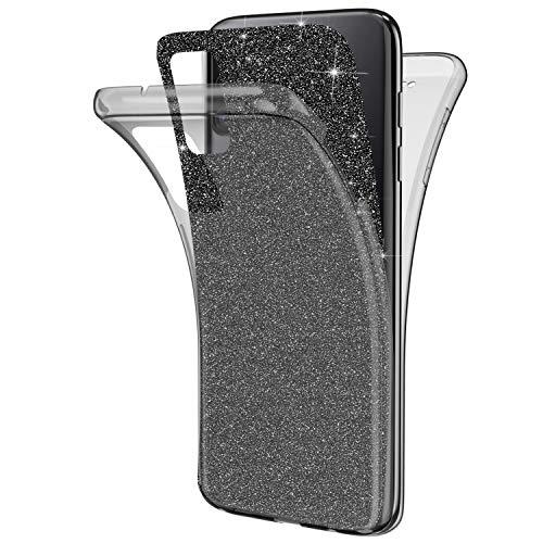 Kompatibel mit Samsung Galaxy A41 Hülle,Glänzend Bling Glitzer 360 Grad Full Body Transparente Handyhülle Weich Silikon TPU Vorderseite Zurück Schutz Schutzhülle Case für Galaxy A41,Schwarz
