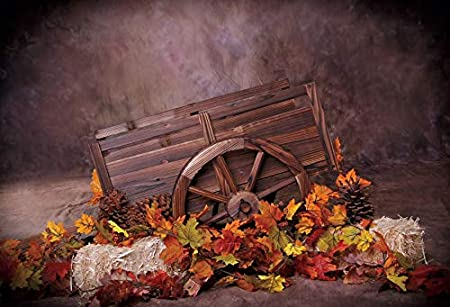 Leowefowa Happy Thanksgiving Day Backdrop for Photography 12x10ft Shabby Grunge Wall Autumn Maple Leaves Wood Trolley Haystacks Vinyl Background Child Baby Photo Shoot Harvest Festival Wallpaper
