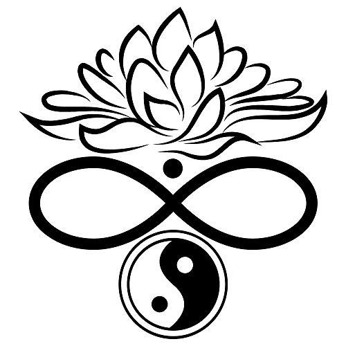 Wandtattoo Lotusblüte Unendlichkeitszeichen Yin & Yang - 54 Farben - 2 Größen/weiß / 55 cm breit x 60 cm hoch