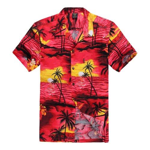 Hombres Aloha Camisa Hawaiana en Puesta de Sol Rojo 2XL
