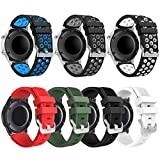 Compatible with Samsung Galaxy Watch 3 45mm Band - Gear S3 Frontier & Classic Bands/ Galaxy Watch 46mm bands, 22mm Soft Silicone Replacement Breathable Sport Bands straps for Men and Women (7 Pack)
