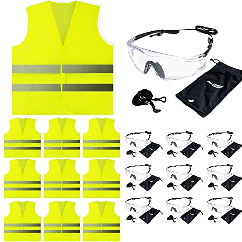 Safety Vest and Glasses Bundle (10 Each)