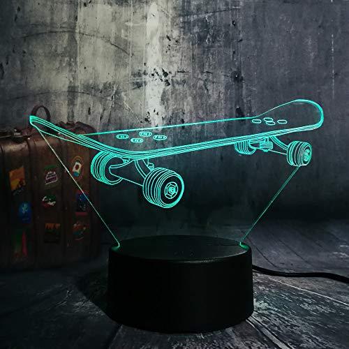 3D LED illusion lamp skateboard, sfeerlamp 7 kleuren wisselende kleuren met afstandsbediening en USB-oplaadkabel hoofddecoratie licht