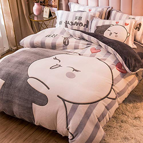 Shinon grey king size bedding set,Winter thick double-sided plus fleece flannel duvet cover single bed single pillowcase-F_1.8m bed (4 pieces)