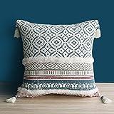 Dremisland Marokko getuftete Boho Kissenbezüge - Square Baumwolle Dekokissen Kissenbezüge Quaste Kissenbezug Weich Kissenhülle für Sofa Couch Auto Schlafzimmer Wohnzimmer 45x45cm (Blau)