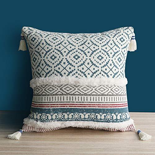 Dremisland Marokko getuftete Boho Kissenbezüge - Square Baumwolle Dekokissen Kissenbezüge Quaste Kissenbezug Weich Kissenhülle für Sofa Couch Auto Schlafzimmer Wohnzimmer (Blau, 50x50cm)