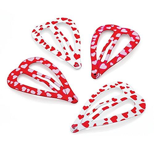Chocolate Pickle® Nouveau Femmes Glitter Effet Cœur Print Saloon Cheveu Snap N Griffe Clips Set Cheveu Accessoires 29158 Red N White Tone