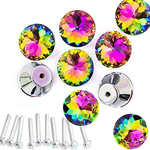 HOSL 10PCS Diamond Shape Crystal Glass Cabinet Knob Cupboard Drawer Pull Handle/Great for Cupboard, Kitchen and Bathroom Cabinets, Shutters (30mm Colorful)