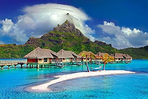 YHHAW Patrón de cabañas de Playa y montañas. Puzzle,Puzzles para Adultos,Rompecabezas,Puzzle 1000 Piezas