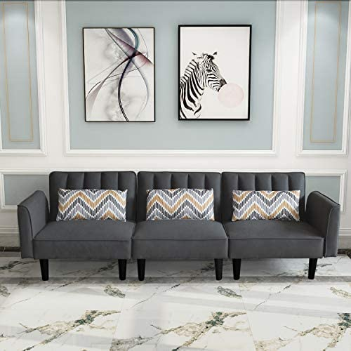 Modern Sectional Sofa with Pillows Linen Fabric Couch with Armrest 3 seat Sofas for Living Room product image