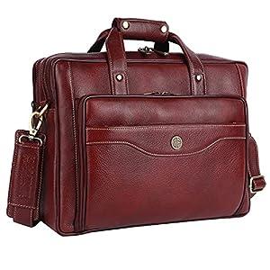 HAMMONDS FLYCATCHER Unisex Original Brown Leather 15.6 inch Laptop Messenger Bag with Trolley Straps (L=39, B=10.5, H=27.5 cm) LB168