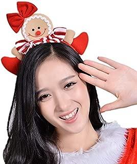 Zerowin Christmas Gingerbread Man Style Hair Hoop Xmas Hair Accessory Headwear Cute Cartoon Headband Christmas Holiday Party Supplies Gifts (Style 2)