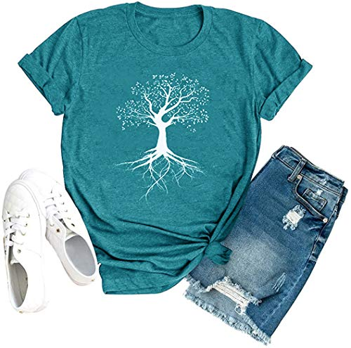 Women Graphic Tees Shirts Tree Life Print Spiritual Tshirt Natural Plants Causal Tops